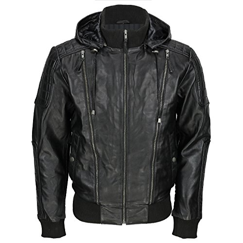 Black Jacket Genuine Bolmber Retro Hooded F Men's Fj8 Leather Cowhide amp;h CwxxTXqz