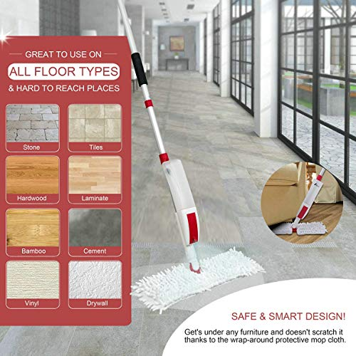 GUZEX Spray Mop for Floor Cleaning System with Reusable Microfiber Pads and Squeegee - Flip Wet Jet Mop Cleaner for Hardwood Wood Laminate Tile Wall