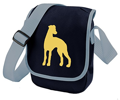 Whippet Greyhound Dog Bag Reporter Bag Shoulder Bag Sighthound Silhouette Lurcher Whippet Gift Choice of Colours Fawn Dog Blue Bag