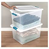60 quart storage bin - 60 Quart Storage Containers 6-Pack Closet with Lids Space Saver Baskets Box Stacking Bin Portable Organizer & eBook