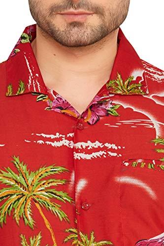 A Floreale Hawaiana Club Slim Maniche Classica 1 Cubana Fit Camicia Da Rosso Corte Uomo Casual HxaanwXq8I