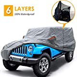 "Big Ant Car Cover for Jeep Wrangler CJ,YJ, TJ & JK 4 Door All Weather Protection Waterproof SUV Cover Customer Fit for Jeep Wrangler with Driver Door Zipper up to 190"" L,Gray"