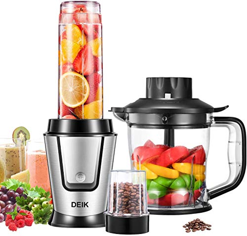 Blender Personal Smoothie Blender (BPA free), 5 in 1 Personal Kitchen Assistant with 304 Stainless Steel Blade for Blending, Grinding and Food Processing, 600ml Portable Bottle, 500W, Deik