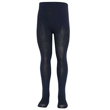 9fb18544a5e Amazon.com  Mopas Little Girls Navy Opaque High Waisted Stretchy Footed  Tights 1-3  Clothing