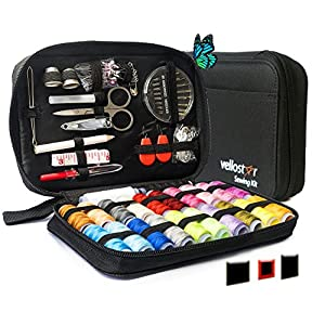SEWING KIT– Premium Set with Over 100 Accessories & 24 Mixed Color Threads, for Emergency Sewing Repairs at Home, in the Office & Travel Trips, Beginner Mini Sew Kits (Black, Pack of 1- Large)