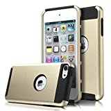 iPod Touch 6 Case, iPod Touch 5 Case, KAMII Slim Fit Shockproof Bumper Dual Layer Hard PC+Soft Silicone Hybrid Protective Case Cover for Apple iPod touch 5 6th Generation (Golden+Black)