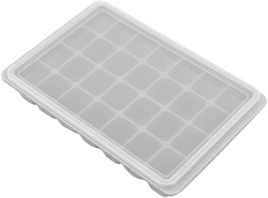28Grids DIY Silicone Ice Tray Freeze Pudding Mold Chocolate Mould Baking with Lid for Egg Bites, Ice Cream Mould, Baby Food Storage Container(Grey)