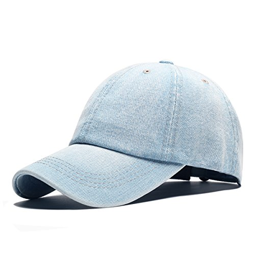 Angelsweet Unisex Casual Cotton Denim Baseball Cap Classic Jean Hat Plain Washed Sports Dad Hat Adjustable Polo Style (Light Blue)