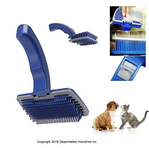 DINY Home & Style Self Cleaning Slicker Pet Brush Stimulates Skin and Hair Follicles