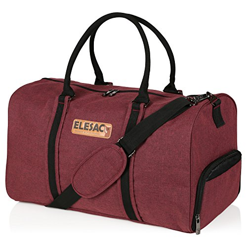 EleSac Canvas Style Duffel Bag for Men and Women with Shoe Compartment –  Weekend Bag for 5a59dbce7fc55