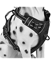 Dog Harness No Pull, Adjustable Vest Harness with Handle & 2 Leash Attachments, Reflective Harness for Dogs Walking & Training