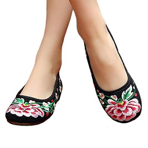 Negro Zapatos de Bonitos Elegantes Ciruela Bordados Flores y de wHw8qS7