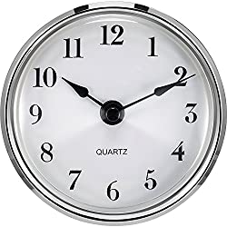 Hicarer 3-1/8 Inch (80 mm) Quartz Clock Fit-up/Insert with Arabic Numeral, Quartz Movement (Silver Trim)