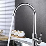 wall mount waterfall tub faucet brushed nickel KAEN Single Handle Stainless Steel Kitchen Bar Prep Sink Faucet, Hot and Cold Mixer, Brushed Nickel