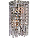 Worldwide Lighting W23621C6 Cascade 2 Light with Clear Crystal Wall Sconce, Chrome Finish