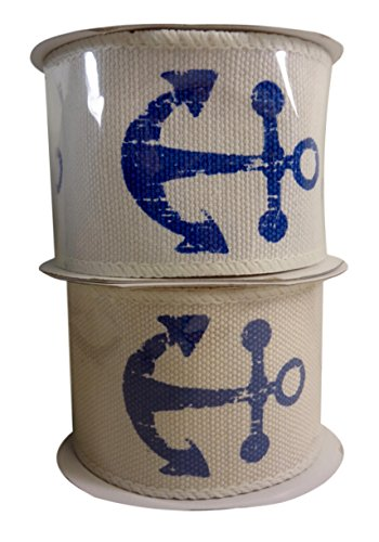 Nautical Blue Anchor Jute & Cotton Wired Ribbon, 2.5 In. X 15 Ft, Pack of (2) (Cotton Wired Ribbon)