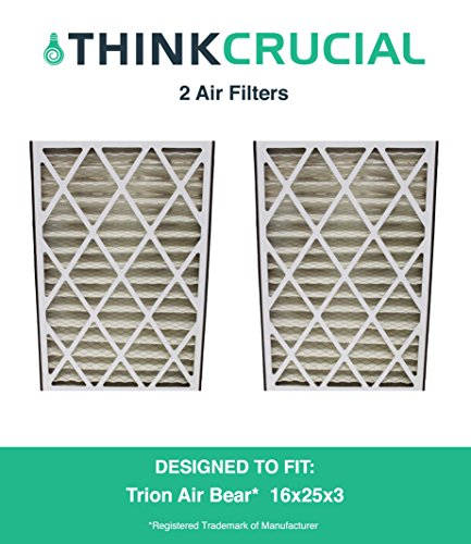 "2 Premium Trion Air Bear 16x25x3 (16"" x 25"" x 3"") Merv 8 Replacement Air Filter, Compare to Part # 255649-101, by Think Crucial"