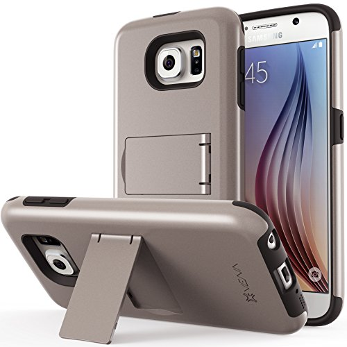 Galaxy S6 Case, VENA Legacy [Dual Layer Protection |Shock Absorption] Heavy Duty Cover with Kickstand [+1 HD Clear Screen Protector] for Samsung Galaxy S6 2015 (Metallic Bronze (Gunmetal) & Black) (Bronze Metallic Cover)