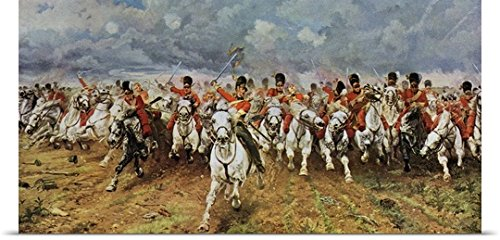 Elizabeth Butler Poster Print entitled Scotland Forever. The Royal Scots Greys Charge At Waterloo.