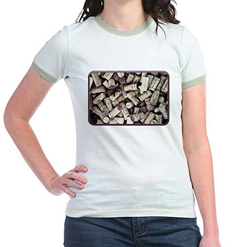 Truly Teague Jr. Ringer T-Shirt I Love Wine Corks - Mint/Avocado, Medium