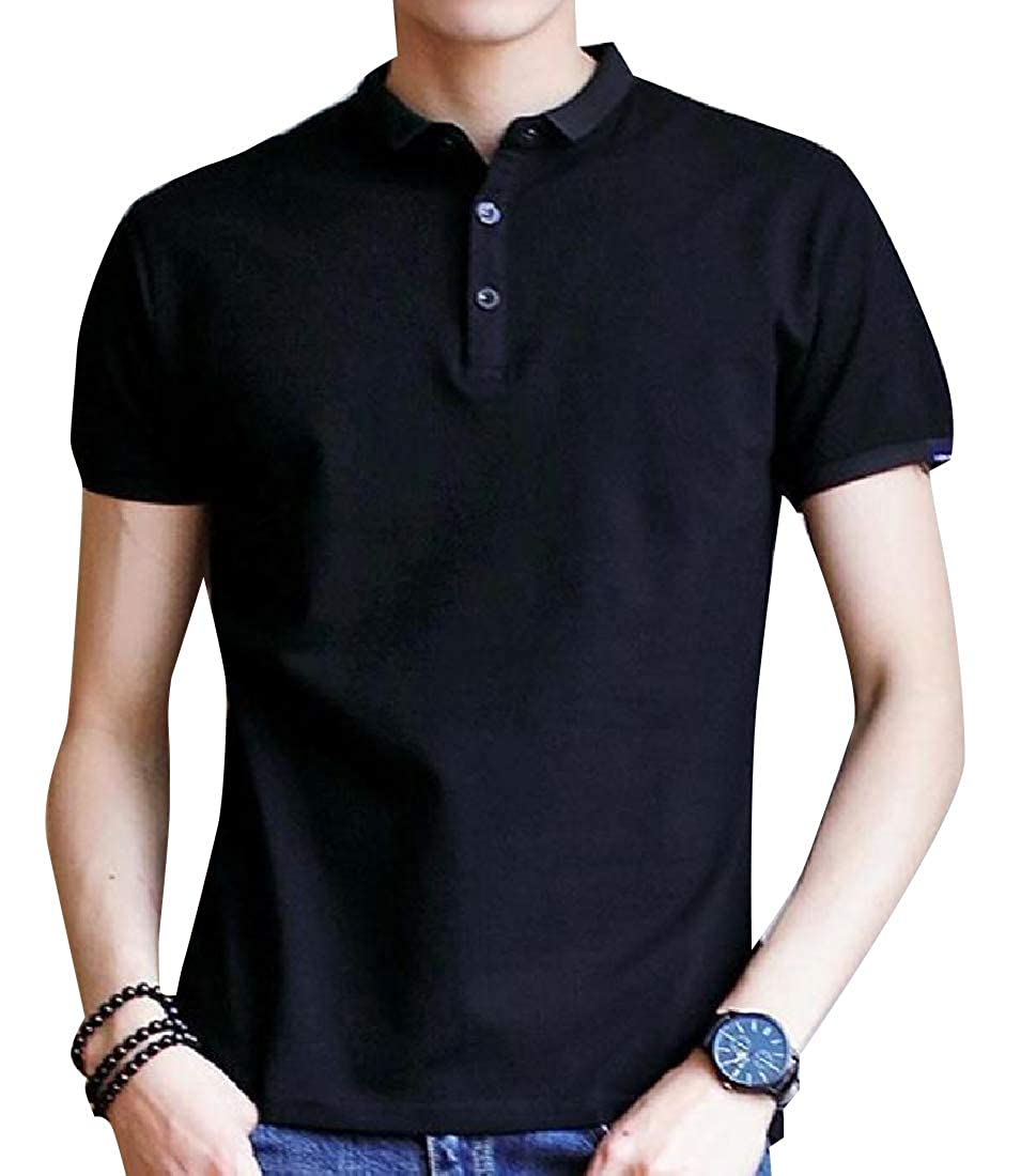 Mfasica Men Comfy Original Fit Solid Color Jersey Polo with Stretch