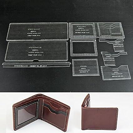 amazon com wuta leather mens bifold wallet pattern acrylic template