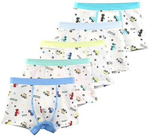 BOOPH 5 Pack Little Boys Underwear Cotton Car Pattern Toddler Boxer Briefs For Kids 2T-10T Car Boxer Shorts