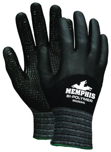 Memphis Glove MG9694M Seamless Black Nylon/Spandex Plaited Shell Memphis Gloves with 3/4 Bi-Polymer Dipped Palm and Fingers, Black, Medium, (Bi Polymer Gloves)