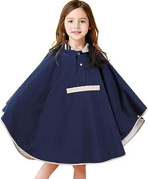 JiAmy Kids Poncho Hooded Raincoat Durable Waterproof Portable Rain Cape for Boys Girls