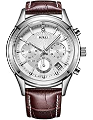 BUREI Mens Business Casual Elegant Chronograph Sports Watch with White Dial and Genuine Leather Strap (Brown)