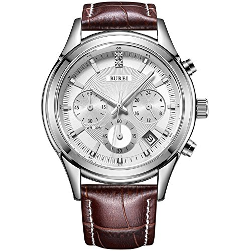 BUREI Mens Business Casual Elegant Chronograph Sports Watch with White Dial and Genuine Leather Strap - Mens Watches Used
