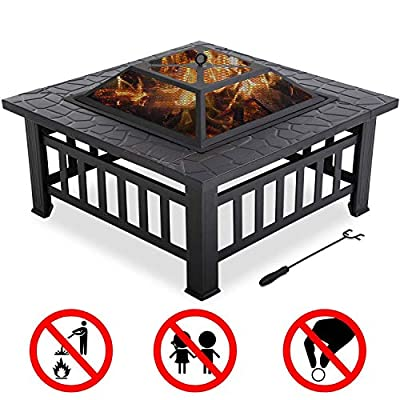 "FDW Outdoor fire Pit for Wood 32"" Metal firepit for Patio Wood Burning Fireplace Square Garden Stove with Charcoal Rack, Poker & Mesh Cover for Camping Picnic Bonfire Backyard"