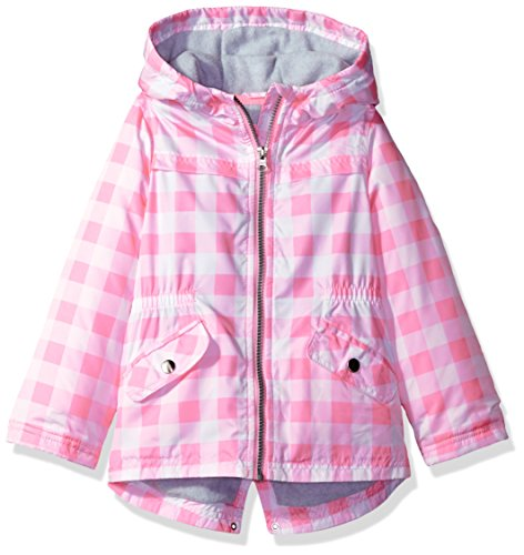 Carter's Baby Infant and Toddler Girls' Zip Front Printed Hooded Anorak, Pink Gingham, 18M (Zip Front Printed)
