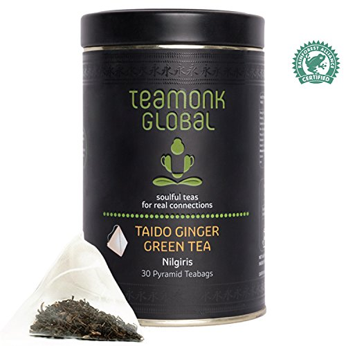 Teamonk Global Weight Care & Easy Digest Taido Ginger Green Tea | Nilgiri Green Tea | 30 Whole Leaf Pyramid Teabags | Rainforest Alliance Certified | Natural Ginger | No Additives (Forest Ginger Rain)