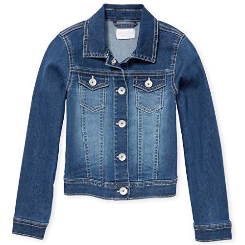Girl Denim Jacket (The Children's Place Girls' Big Solid Denim Jacket, MDBLU Ribn Wash, L)