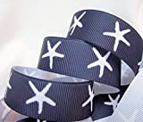 Grosgrain Ribbon - Navy Starfish Print - 7/8'' Wide, 10 Yards, Great For Bows, Hair Bows & Nautical Crafts!
