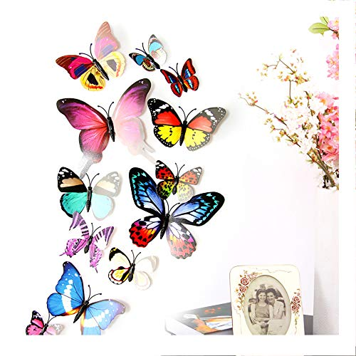 (Wociaosmd 12pcs 3D DIY Butterfly PVC Art Decal Home Decor Kids Room Removable Wall Mural)