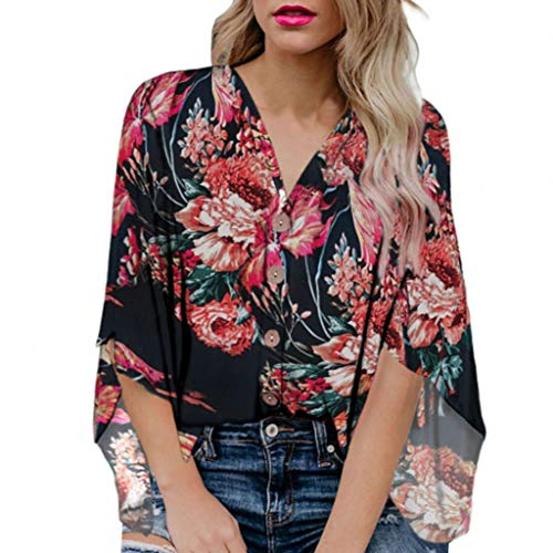 (Women's Stylish Floral Print Button Down V-Neck Blouse Chic 3/4 Bell Sleeve Kimono Top Casual Summer Tops Black)