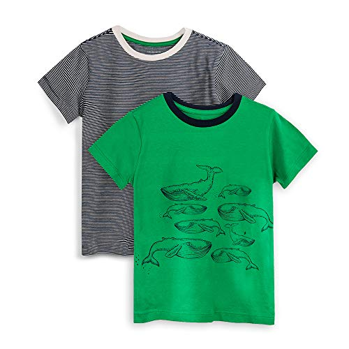 - Mightly Kids Clothing - Whales Shirts for Girls and Boys, Organic Cotton, Large (10), Pack of 2 Green, Navy