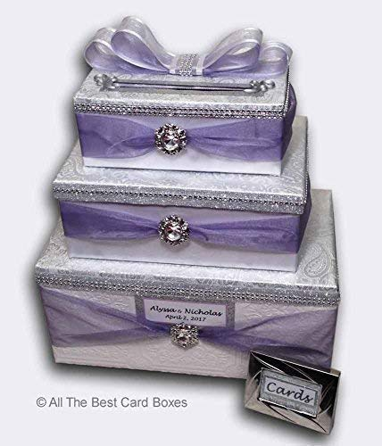 Lavender Wedding Card Box with slot, three tiers, rhinestone brooches, sheer scarfing, Silver and white, Personalized, All The Best Card Boxes, Custom colors available