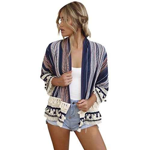 Clearance! SINMA Women Classic Striped Cardigan Long Sleeve Tassel Shawl Kimono Shirt (S, Blue) by Sinma