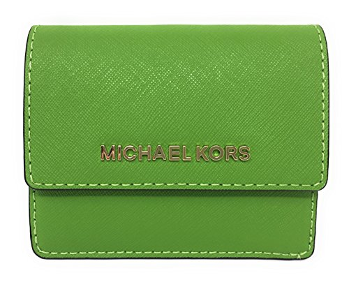 Michael Kors Jet Set Travel Leather Card Case, ID and Key Holder Wallet (Jungle Green)