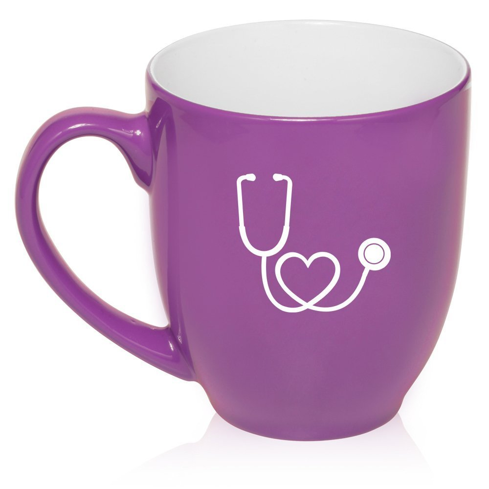16 oz Purple Large Bistro Mug Ceramic Coffee Tea Glass Cup Heart Stethoscope Nurse Doctor