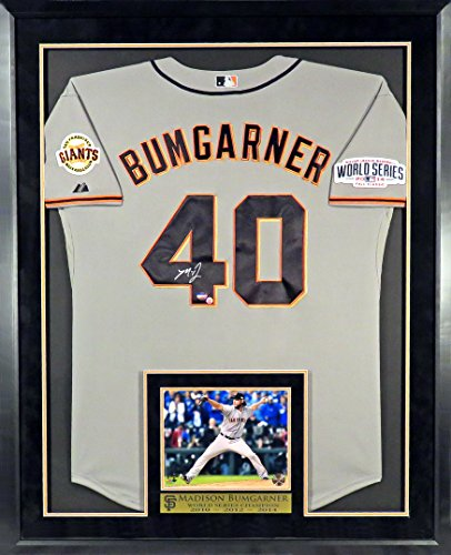 - San Francisco Giants Madison Bumgarner Autographed Jersey w/ 2014 World Series Patch with Inset WS 8x10 Photo and Floating Plate Framed (COA)