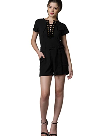 0e0a7523054c Why So Blue Women Black Lace-Up Romper  Amazon.in  Clothing   Accessories
