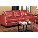 coaster home furnishings casual sofa red