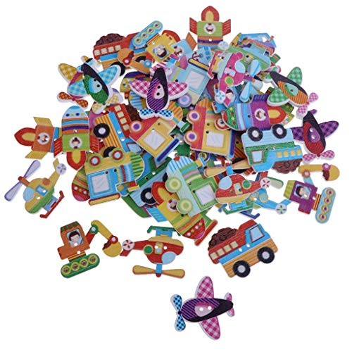 - 100pcs Cartoon Wooden Buttons Decorative Buttons for with 2 Holes for DIY Sewing Crafts Knitting Baby Clothes - Mixed Transportation