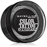 Maybelline New York Eye Studio Color Tattoo Leather 24 HR Cream Gel Eyeshadow, Dramatic Black, 0.14 Ounce