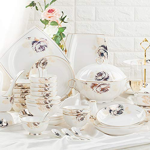 YLee European Gold Flower Set (46 Pieces) Exquisite Set of Ecological Porcelain Tableware, Family Multi-Person Service Tableware
