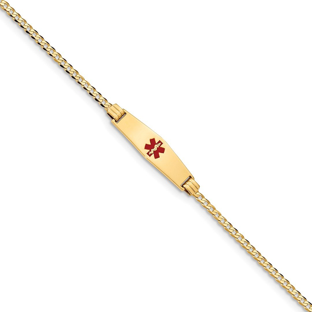 ICE CARATS 14k Yellow Gold Medical Soft Red Enamel Curb Link Id Bracelet 7 Inch Fine Jewelry Gift Set For Women Heart